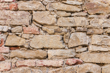 closeup of old crumbling textured brick wall background with copy space