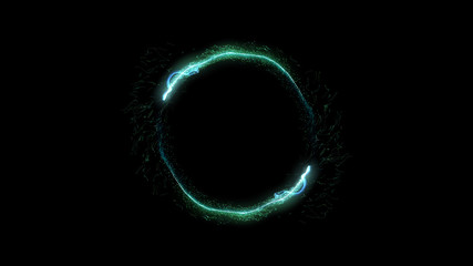 Neon circle. Round frame background. Multiple sparkle swirls. Green color. Glowing ring. Isolated on black.
