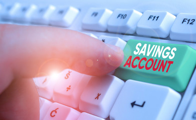 Word writing text Savings Account. Business photo showcasing an interestbearing deposit account held at a bank