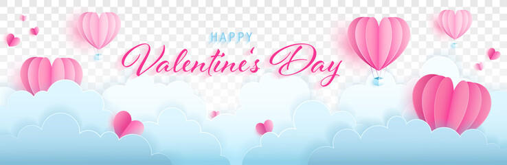 Happy valentines day paper craft vector banner with hearts, clouds and text