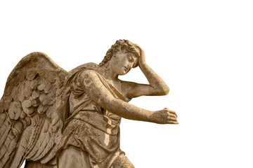Wall Mural - Beautiful sad angel. Ancient statue isolated on white background.