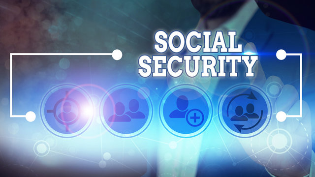 Word writing text Social Security. Business photo showcasing government system that provide monetary assistance to people