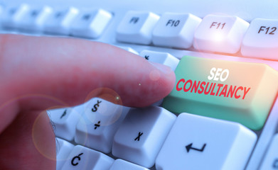 Word writing text Seo Consultancy. Business photo showcasing specialize in evaluating an organization website