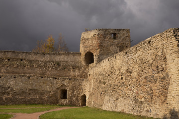Talavskaya tower of fortress of Izborsk. Russia