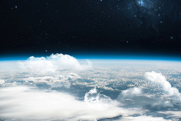 Keuken foto achterwand Heelal Orbit of planet Earth with sky and clouds in outer space. Our home. Stratosphere. Way of ISS. Elements of this image furnished by NASA