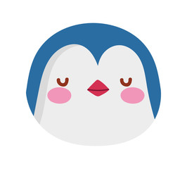 cute penguin face cartoon character on white background