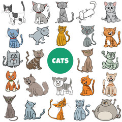 cartoon cat and kittens characters large set