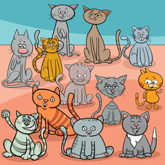 funny cats group cartoon illustration