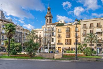 Plaza de la Reina and the tower of the Santa Catalina church in Valencia, Spain
