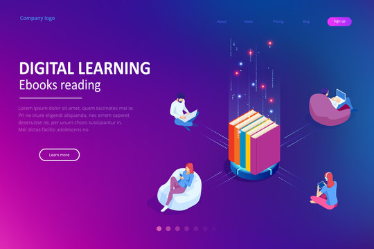 Isometric concept for Digital Reading, E-classroom Textbook, Modern Education, E-learning, Online Training and Course, Audio Tutorial, Distance Education, Ebook and Students