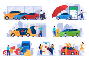 Papiers peints Cartoon voitures Buying new car, insurance and money saving concept, vector Illustration. People cartoon characters using cars automobile owner, modern vehicle service. Auto salon credit, insurance company website app