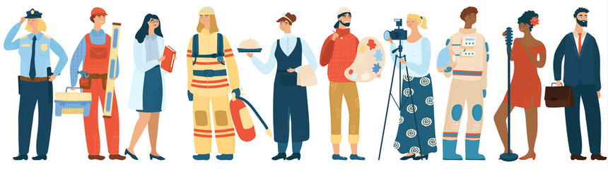 People of different professions, cartoon characters vector illustration. Men and women specialists in uniform, professional work career. Police officer, fireman, builder, waiter and artist painter