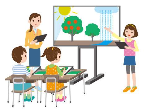 小学校のデジタル学習.ICT教育