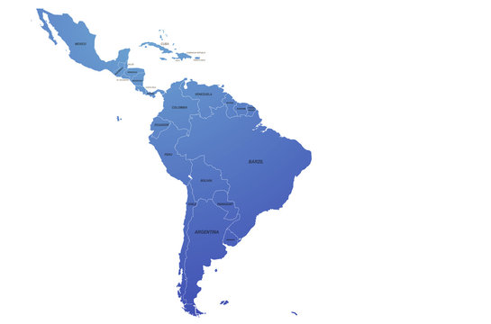 south america map of the world by region. graphic design world map. latin american map.
