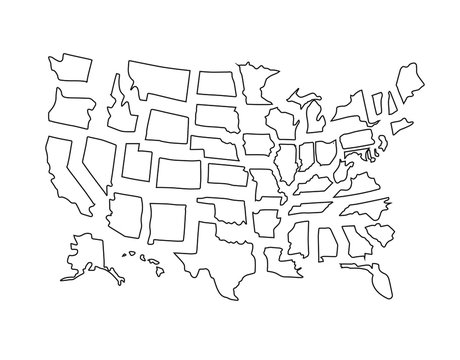 Vector set bundle of hand drawn doodle sketch outline usa states map isolated on white background
