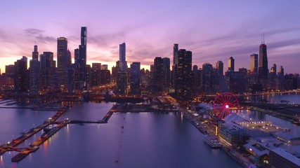 Fototapete - Chicago downtown buildings skyline evening sunset aerial