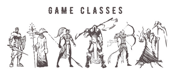 Fototapeta Sketch of game classes of multiplayer games. Mage, Warrior, Archer, Healer, Lancer and Berserk hand drawn isolated obraz