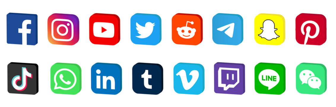 Facebook, twitter, instagram, youtube, reddit,telegram,snapchat, pinterest, tiktok logo. Facebook, twitter, instagram, youtube, reddit,telegram,snapchat, pinterest, tiktok 3d
