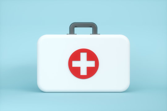 Medical kit and emergency medical equipment with white background,3d rendering.