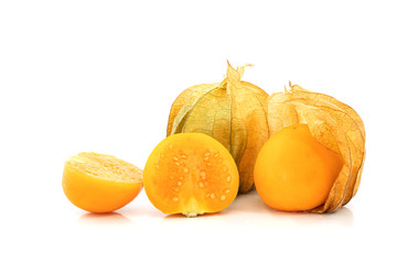 fresh Cape gooseberry fruit on white background