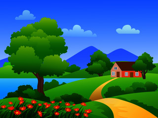 Wall Murals Green landscape with house
