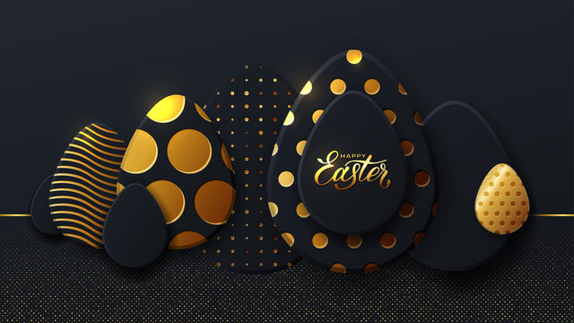 Gold eggs, Happy easter. Background of golden and black egg with dot patterns, spiral and lines pattern on a dark background for design cards, posters, invitations for Easter.