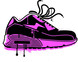 A stylised stencil image of a sneaker, with a magenta back ground layer and a black paint layer.