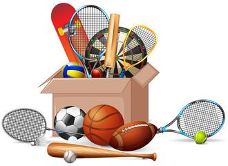 Cardboard box full of sport equipments on white background