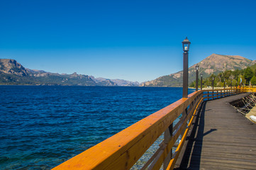 Lake Traful. Patagonia, Argentina. Pier on Lake Traful. Villa Traful, enchanted place. Patagonia, Argentina.
