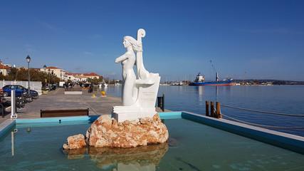 EDITORIAL: 3 FEBRUARY 2020 , PREVEZA CITY PORT, GREECE, mermaid sculpture in port of Preveza greece