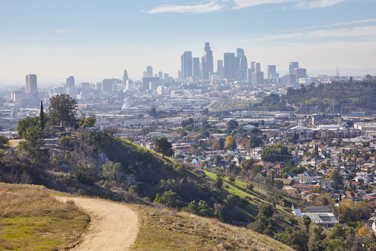 Los Angeles skyline from the hills of east LA in California USA