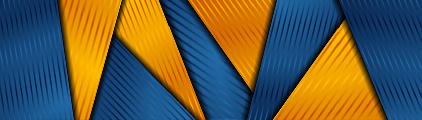 Fotobehang - Bright orange and blue abstract corporate striped background. Vector banner design
