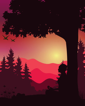 Meditation and yoga with beautiful nature, Vector illustrations