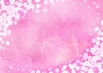 満開の桜のイラストフレーム / 水彩 背景 ピンク