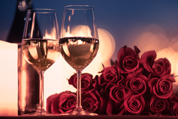 Wall Mural - Dinner date night setting with roses and wine