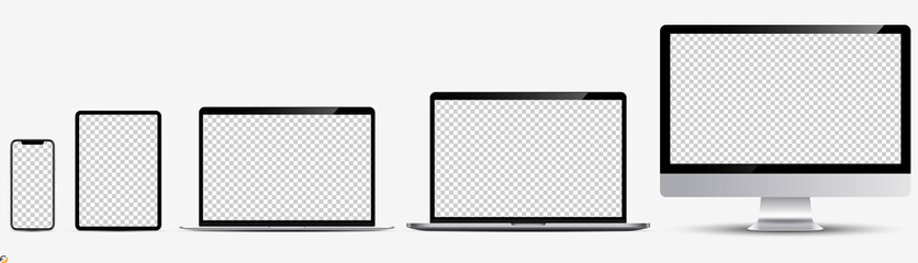 Screen mockup. Smartphone, tablet, laptop and monoblock monitor, with blank screen for you design. Vector illustration Ai 10
