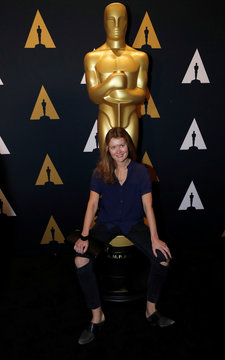"Andreicheva, nominated for an Oscar for Best documentary short subject for ""Learning to Skateboard in a Warzone (If You're a Girl),"" pose at a reception at the Academy of Motion Picture Arts and Sciences in Beverly Hills"