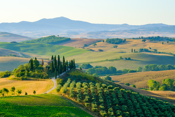 Foto op Canvas Toscane Late summer aerial landscape of valley in Tuscany