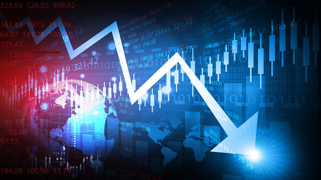 Decreasing arrow shows stock market crash. 3d illustration.