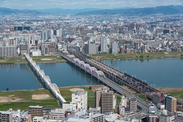Fototapete - Aerial view of Osaka city, Japan