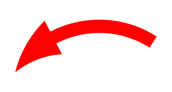 Red Bent Direction Arrow On A White Background