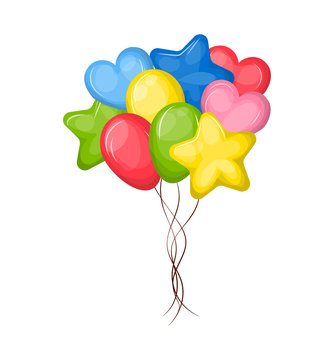Flying colorful balloons different shape heart shaped oval stars
