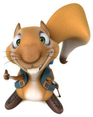 Fun 3D squirrel backpacker cartoon character