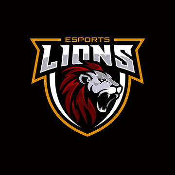 Lion head gaming logo for esport and sport mascot vector illustration