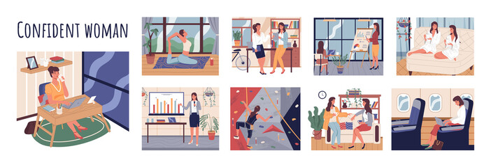 Confident businesswoman giving presentation at work. Female character doing yoga at free time. Girl talking to friend and working on laptop in plane. Mountaineering hobby of businesslady. Woman time Wall mural