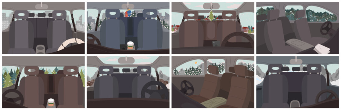 Collection of car interior, set of vehicles inside views. Empty automobile with mittens or pine tree toy hanging by mirrors. Trips and journey by auto. Winter landscapes scenery vector. Auto vehicle
