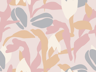 Abstract floral seamless vector pattern in pastel palette
