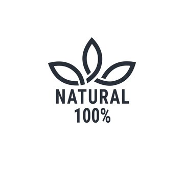 100% natural product. Vector logo isolated on white background.