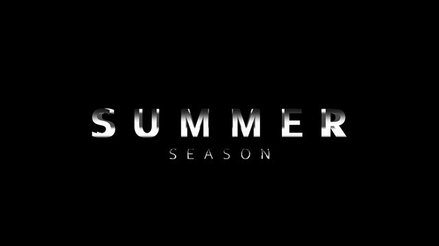 Cinematic Summer season title Video Template. Animation text of dynamic zoom camera advertisement.Version Movie with banner and motion graphic on black background.summer holiday screen illustration