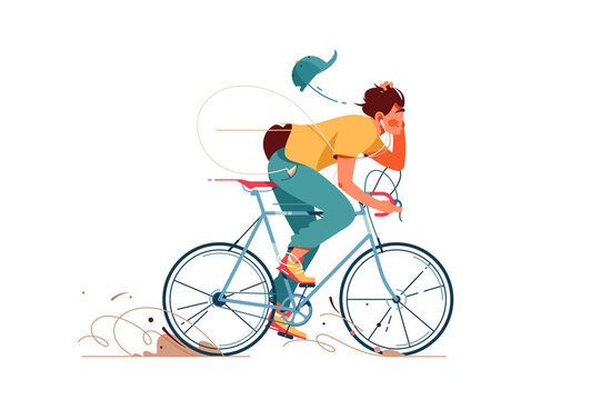 Young man rides sport bicycle listening to music
